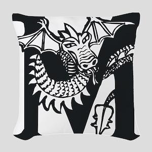 Black and White Dragon Letter M Woven Throw Pillow