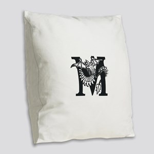 Black and White Dragon Letter M Burlap Throw Pillo