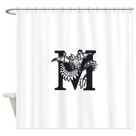 Black And White Dragon Letter M Shower Curtain