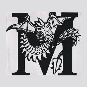 Black and White Dragon Letter M Throw Blanket
