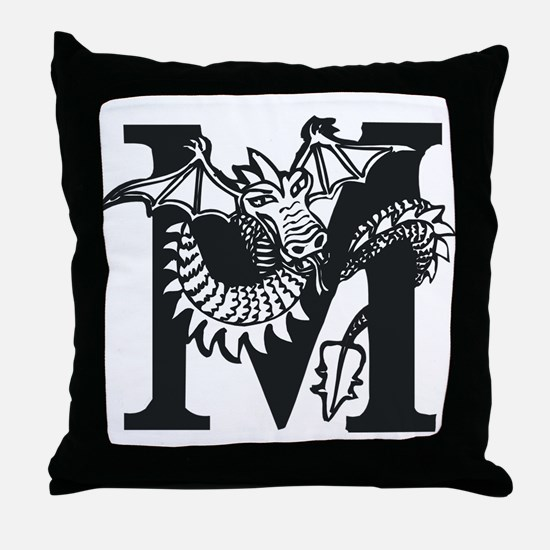 Black and White Dragon Letter M Throw Pillow