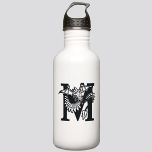 Black and White Dragon Letter M Water Bottle