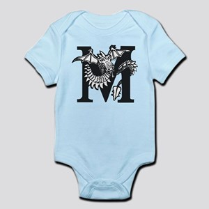 Black and White Dragon Letter M Body Suit