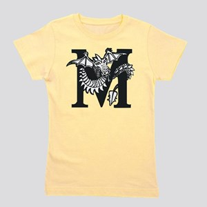 Black and White Dragon Letter M Girl's Tee