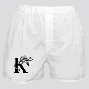 Black and White Dragon Letter K Boxer Shorts