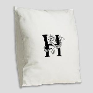 Black and White Dragon Letter H Burlap Throw Pillo