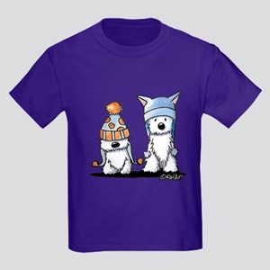 KiniArt Winter Westies Kids Dark T-Shirt