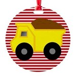 Red White Striped Dump Truck Ornament