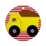 Red White Striped Dump Truck Ornament (Round)