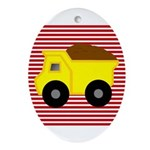 Red White Striped Dump Truck Ornament (Oval)