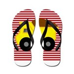 Red White Striped Dump Truck Flip Flops