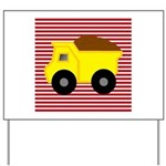 Red White Striped Dump Truck Yard Sign