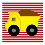 Red White Striped Dump Truck Square Car Magnet 3