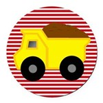 Red White Striped Dump Truck Round Car Magnet
