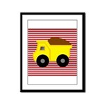 Red White Striped Dump Truck Framed Panel Print