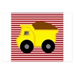 Red White Striped Dump Truck Invitations