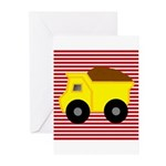 Red White Striped Dump Truck Greeting Cards