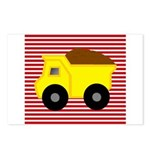 Red White Striped Dump Truck Postcards (Package of