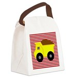 Red White Striped Dump Truck Canvas Lunch Bag