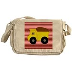 Red White Striped Dump Truck Messenger Bag