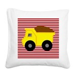 Red White Striped Dump Truck Square Canvas Pillow