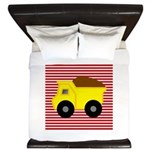 Red White Striped Dump Truck King Duvet