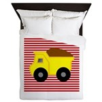 Red White Striped Dump Truck Queen Duvet
