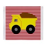 Red White Striped Dump Truck Throw Blanket