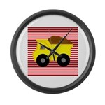 Red White Striped Dump Truck Large Wall Clock