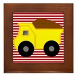 Red White Striped Dump Truck Framed Tile