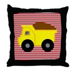 Red White Striped Dump Truck Throw Pillow