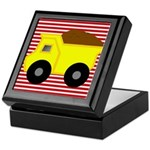 Red White Striped Dump Truck Keepsake Box