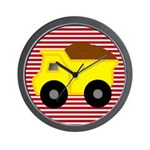 Red White Striped Dump Truck Wall Clock