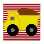 Red White Striped Dump Truck Tile Coaster