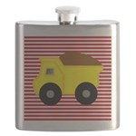 Red White Striped Dump Truck Flask