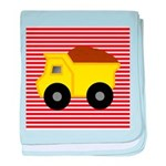 Red White Striped Dump Truck baby blanket