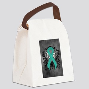 Winged Teal Ribbon Canvas Lunch Bag