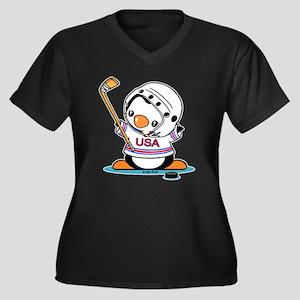 Ice Hockey P Women's Plus Size V-Neck Dark T-Shirt