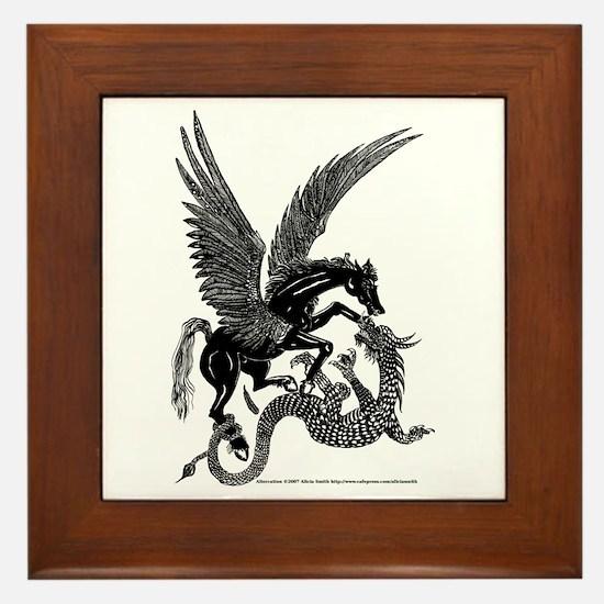 Altercation: Pegasus Fighting Dragon Framed Tile