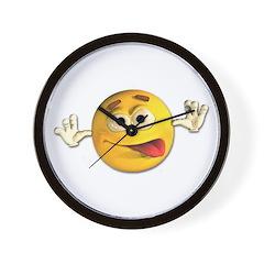 Goofy Emoticon Smiley Wall Clock