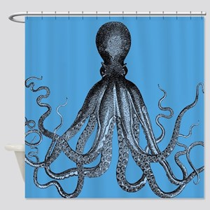 Vintage Octopus In Duo Blue Tones Shower Curtain