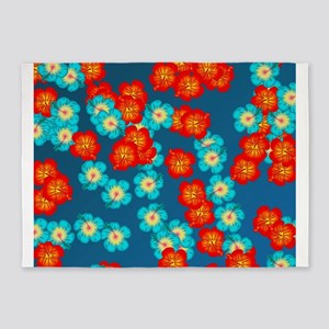 Blue and red hibiscus 5'x7'Area Rug