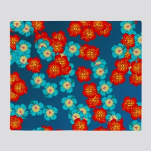 Blue and red hibiscus Throw Blanket
