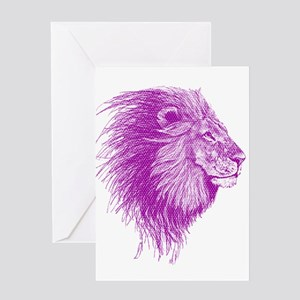 purple dot lion Greeting Cards