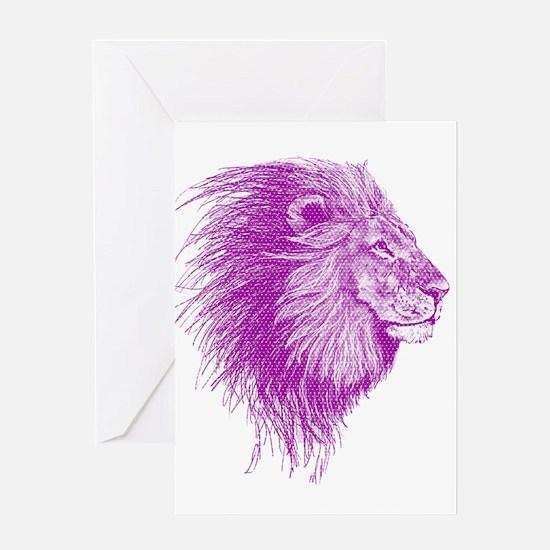 purple dot lion Greeting Cards
