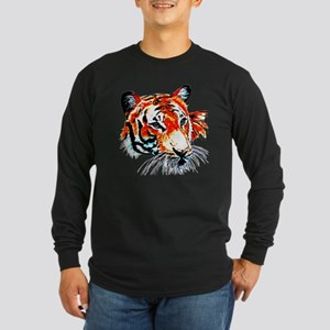 Neon Tiger Long Sleeve Dark T-Shirt