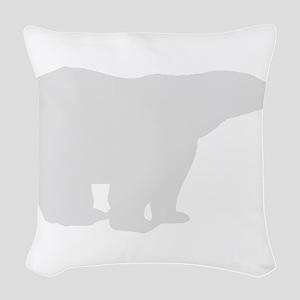 Grey Polar Bear Woven Throw Pillow