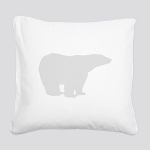 Grey Polar Bear Square Canvas Pillow