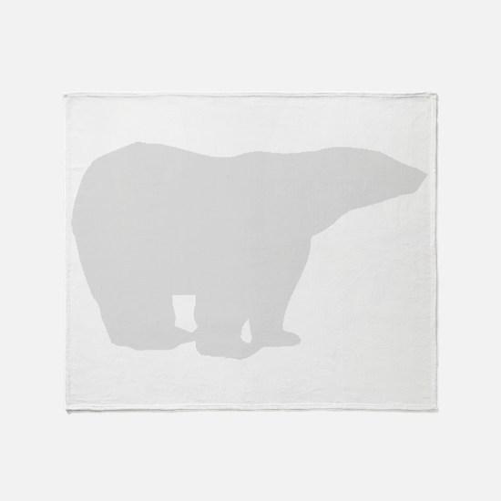 Grey Polar Bear Throw Blanket