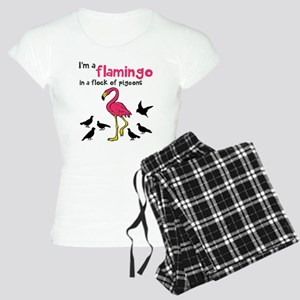 Flamingo Flock of Pigeons Women's Light Pajamas